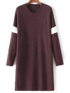Vestido cuello redondo recto-(Sheinside)