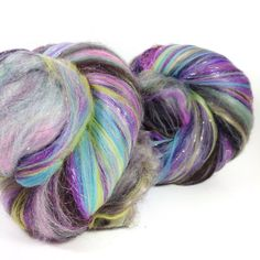 4.2 oz 120 grams of glowing sparkling art batts. Set of 2. A spinners dream. Grade A mulberry silk merino nylon tencel and sparkles galore