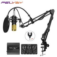 ebe7f8a11dc FELYBY profession bm 800 condenser microphone for computer karaoke mic  bm800 Phantom power pop filter Multi