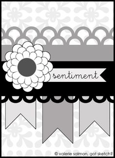 card sketch - pennant border...horiz strips...pennant sentiment next to embelli