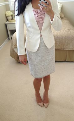 Cream Ivory Collarless Blazer + blush ruffle top + Petite Fringed Tweed Skirt + pumps // Click for details: http://www.stylishpetite.com/2013/03/h-ivorycream-collarless-blazer.html