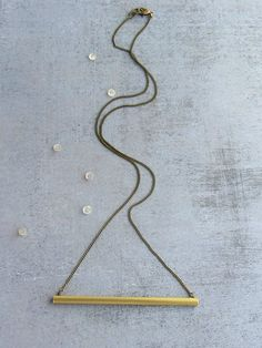 Brass tube bar gold long necklace, antique gold chain, minimalist jewelry. on Etsy, $30.00
