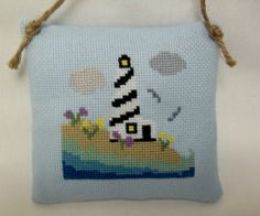 Spring Lighthouse Hanging Mini Pillow / by luvinstitchin4u on Etsy, $17.50