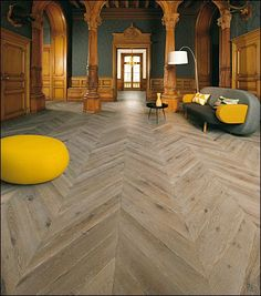 Oak Gris Guerande Chevron Parquet - Mulveys of Dundrum Oak Parquet Flooring, Hardwood Floors, Design Parquet, Parquet Chevrons, Unique Flooring, Stair Storage, Under Stairs, Floor Design, Timeless Beauty