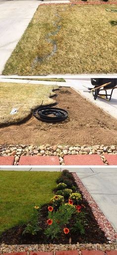 On this post, we show you how we made a flower bed in front of our house, from scratch, to improve our front yard landscaping. Small Front Yard Landscaping, Home Landscaping, Flower Garden Design, Love Garden, Cheap Plants, Succulents In Containers, House Landscape, House Front, Flower Beds