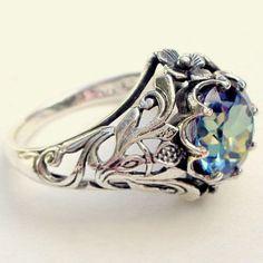 1.79 - Hot Mystic Topaz Hollow Silver Plated Ring Elegant Lady Wedding  Jeweley Sz 5- f47fa2ddac5af