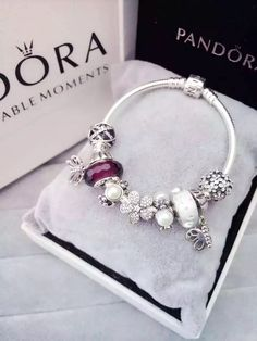 50% OFF!!! $219 Pandora Charm Bracelet White Purple. Hot Sale!!! SKU: CB01588 - PANDORA Bracelet Ideas