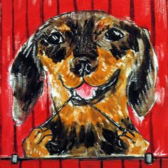 Dachshund art ceramic tile coaster JSCHMETZ flossing dog abstract pop folk art