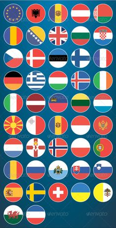 Flat Flag Icons Europe by Aslik Flat Flag Icons EuropePack contains 47 icons in flat style. Available Formats:AI,EPS. Vector object for easy resizing and manipula