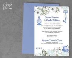 Alice in Wonderland Invitation Template | INSTANT Download | EDITABLE Text | Periwinkle Blue | 5 x 7 inch | Word or Pages Pc & Mac by ScriptAndLily on Etsy