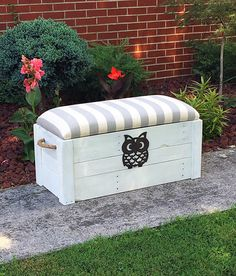 Hope chest Toy box  White distressed paint  by TheDavidsonDesign