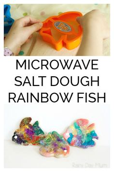 Microwave Salt Dough Rainbow Fish - - Microwave Salt Dough Recipe and cute rainbow fish craft. Ideal for making with your kids or in a classroom as instead of waiting hours for the salt dough to dry out it's ready in minutes to paint and decorate. Rainbow Fish Activities, Rainbow Fish Crafts, Fun Activities For Kids, Ocean Crafts, Class Activities, Activity Ideas, The Rainbow Fish, Rainbow Fish Eyfs, Fish Handprint