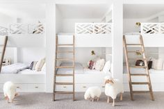 Coolest kids bedroom ever! This would be really functional at a lake or beach house as a bunk room! Design: via White Kids Room, White Rooms, Kid Room Decor, Bed, All White Room, Bunk Beds Built In, Cool Bunk Beds, Space Bedding, Space Saving Bedroom