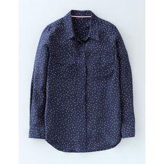 Boden Silk Shirt ($74) ❤ liked on Polyvore featuring tops, blue collar shirt, shirt top, oversized shirts, oversized collar shirt and oversized tops