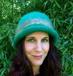 Felted hat handknit with soft wool and mohair by creationsbycorina