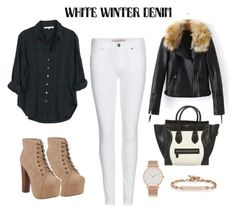 """""""white winter denim"""" by sophiekim17 ❤ liked on Polyvore featuring Burberry, Jeffrey Campbell, Xirena, CÉLINE, Larsson & Jennings and Hoorsenbuhs"""