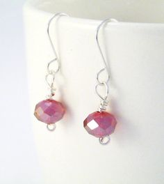 Red Crystal Drop Earrings  Silverplated by 2012BellaVida on Etsy, $15.00