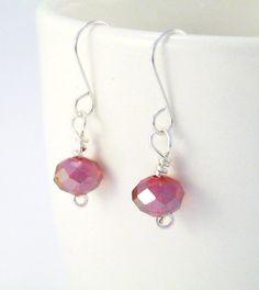 Red Crystal Drop Earrings  Silverplated by 2012BellaVida on Etsy, $15.00