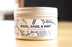 Basil, Sage, & Mint Soy Candle with Wood Wick