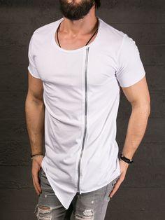 K&B Men Asymmetrical Side Zipper Big Neck T-shirt - White