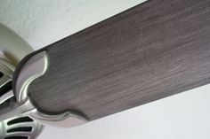 Kristen F. Davis Designs: painted ceiling fan...Metallic Pearl White....looks good with the pewter/aged chrome look.