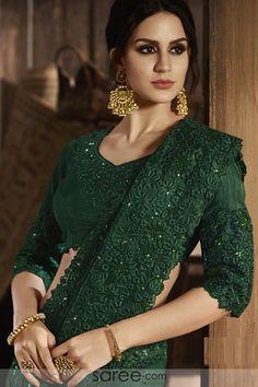 Bottle Green Silk Designer Saree with Floral Embroidered Border Indian Designer Outfits, Indian Outfits, Indian Attire, Bottle Green Saree, Green Lehenga, Net Lehenga, Modern Saree, Elegant Saree, Saree Dress