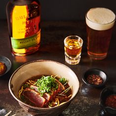 You know what tastes declicious? Pairing yellowfin tuna with a good old Bulleit Rye. Enjoy! Kentucky Mule, Bulleit Bourbon, Yellowfin Tuna, Rye, Japchae, Spicy, Ethnic Recipes, Easy, Food