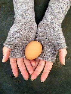 New PDF knitting pattern Cloudland fingerless gloves by lynnevogel Fingerless Gloves Knitted, Crochet Gloves, Knitting Socks, Hand Knitting, Knitted Hats, Knit Crochet, Knitting Machine, Wrist Warmers, Girly