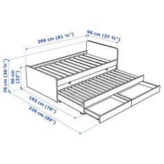 SLÄKT Structure lit av lit tiroir + rangt Blanc 90 x 200 cm - IKEA Cama Ikea, Bed Frame Design, Bed Design, Childrens Single Beds, Bed With Underbed, Day Bed Frame, Bed Frames, Home Furniture, Bed Sets