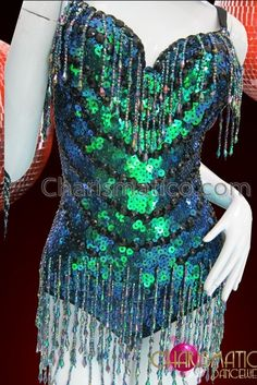 d6df679817e CHARISMATICO Beaded Fringe Accented Peacock Iridescent Green Diva  Showgirl S Cabaret Leotard