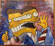 """""""got this wonderfully demented painting from for the holidays"""" What A Cartoon, Cartoon Art, Bob Mackey, Found Art, The Simpsons, Puppets, Bobs, Deck, Holidays"""