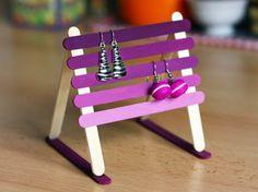 Popsicle Stick Earring Holder | 10 DIY Earring Holder Ideas | Dollar Store Jewelry Organizing Ideas by DIY Ready at http://diyready.com/diy-earring-holder-ideas/