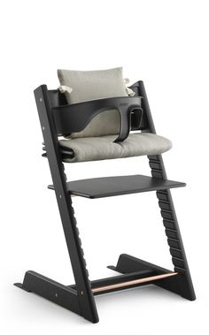 Tripp Trapp® Anniversary Edition Oak Black, with Baby Set and Cushion.