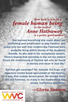 gloria steinem on human trafficking, sexism, and anne hathaway Gloria Steinem, Intersectional Feminism, Anne Hathaway, Patriarchy, Faith In Humanity, Social Justice, Thought Provoking, Strong Women, Equality