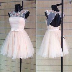 Blush pink homecoming dress,homecoming dresses,lace homecoming gowns,short prom gown,blush pink sweet 16 dress