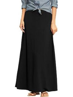 Womens Jersey Maxi Skirts -- reviews say it runs big, but thats probably a good thing for me; it will be long enough and i can double up the waist.