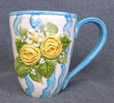 Cottage yellow rose handmade ceramic mug. $27.00, via Etsy.