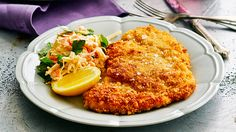 Chicken schnitzel: Ever the crowd-pleaser, homemade schnitzel is very hard to beat - especially when served with a crunchy coleslaw.