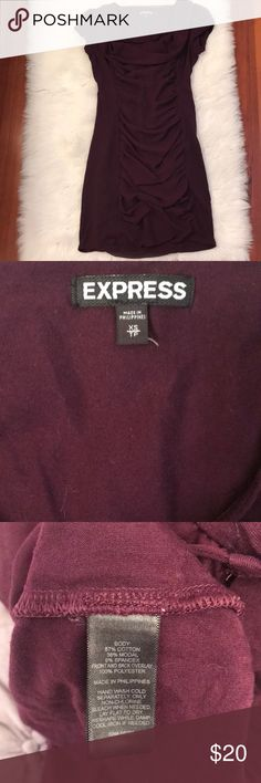 Express plum ruched dress Stretchy.    W6 Express Dresses