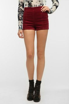 Kimchi Blue Velvet High-Rise Seamed Short {in Dark Red/Maroon/Burgundy/Wine/Crimson}