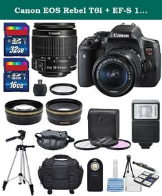 Canon EOS Rebel T6i + EF-S 18-55mm IS STM Lens Kit + Deluxe Bundle (14 Items). Take your art to the next level and capture the best moments of your life with the Canon EOS Rebel T6i DSLR. It is paired here with the Canon EF-S 18-55mm f/3.5-5.6 IS STM lens, which offers wide-angle to standard focal length shooting specifically designed for APS-C cameras. It is equivalent to a 28.8-88mm focal length in the 35mm format. For capturing everything from vacation videos to everyday snaps, you'll...