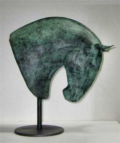 Bronze and steel #sculpture by #sculptor Isabelle Faucher titled: 'Aragao (Bronze Young Stallion Horse Head statue/statuette)'. #IsabelleFaucher