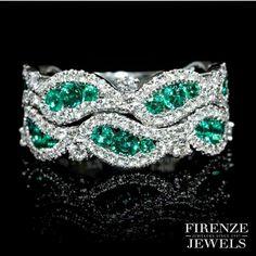 By @firenzejewels #emeralds #diamonds #cuff #bracelet