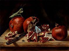 B.A.Vierling Painting: Vanitas exhibit at ART.FAIR 21 Cologne _ I like the colors and the randomness of the grasshopper that is appearing on the pomegranate.