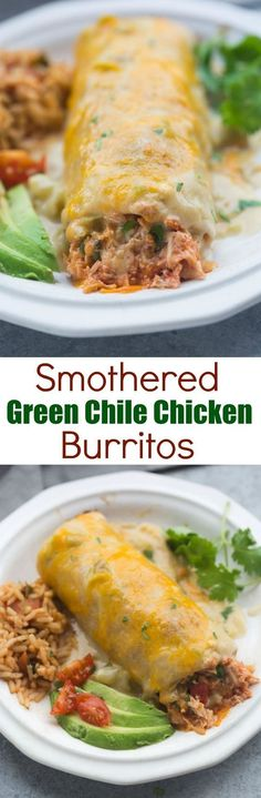 These Smothered Green Chile Chicken Burritos are AMAZING, and super easy to prepare. They're baked until crispy and smothered in the best, homemade green chile sauce. Tastes Better From Scratch Mexican Dishes, Mexican Food Recipes, Dinner Recipes, Latin Food Recipes, Vegetarian Mexican, Dessert Recipes, Tacos, Tostadas, Quesadillas