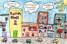 Art Projects for Kids: Cityscape Drawing Kids Art Class, Art For Kids, Kid Art, Kids Fun, Drawing Projects, Art Projects, 3rd Grade Art, Third Grade, Grade 2