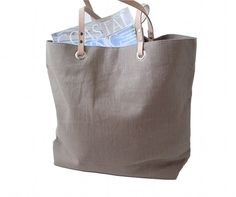 Linen Tote Bag Taupe with Nude/Natural Leather by IndependentReign, $134.00