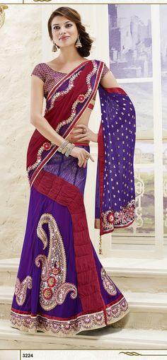 Khazanakart Heavy Embroidery Faux Chiffon Jequard Saree in Purple And Maroon Color