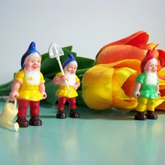 Vintage Set of 6 Tiny Garden Gnomes at Work
