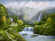 R. BOREN OIL PAINTING Nature Artwork, Nature Paintings, Landscape Paintings, Building Art, Watercolor Sketch, Art World, Fantasy Art, Waterfall, Scenery